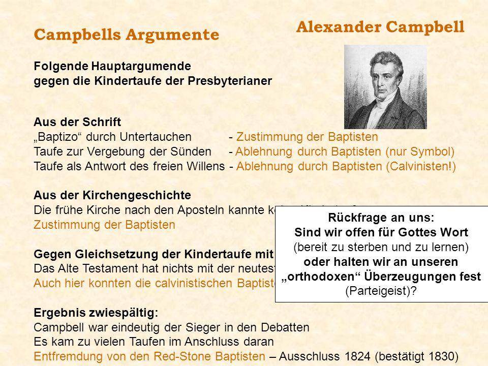 Alexander Campbell Campbells Argumente Folgende Hauptargumende