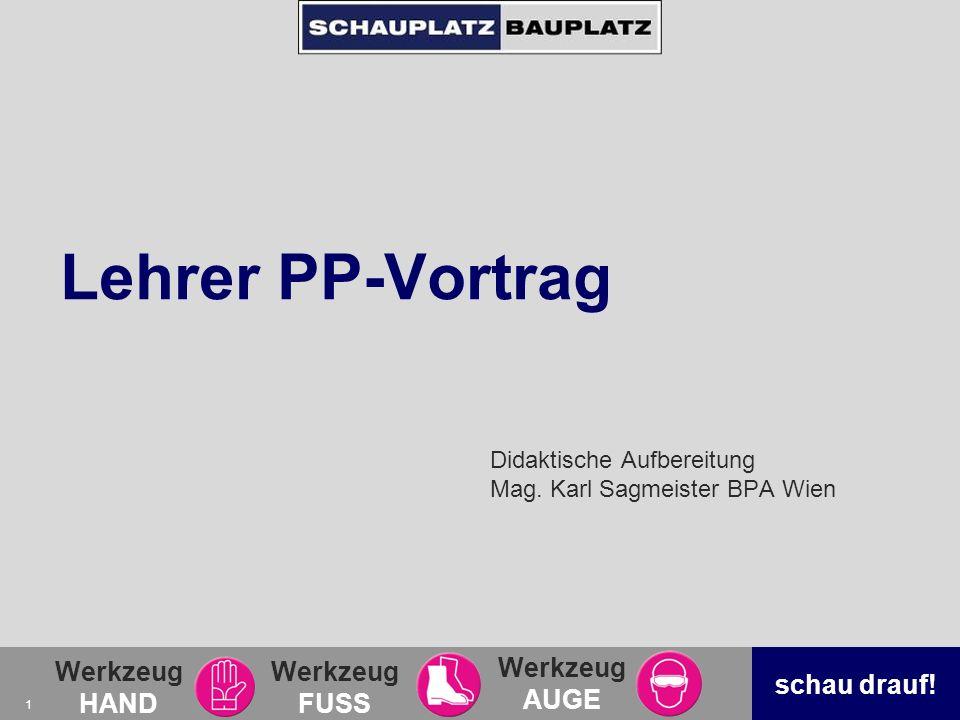Didaktische Aufbereitung Mag. Karl Sagmeister BPA Wien