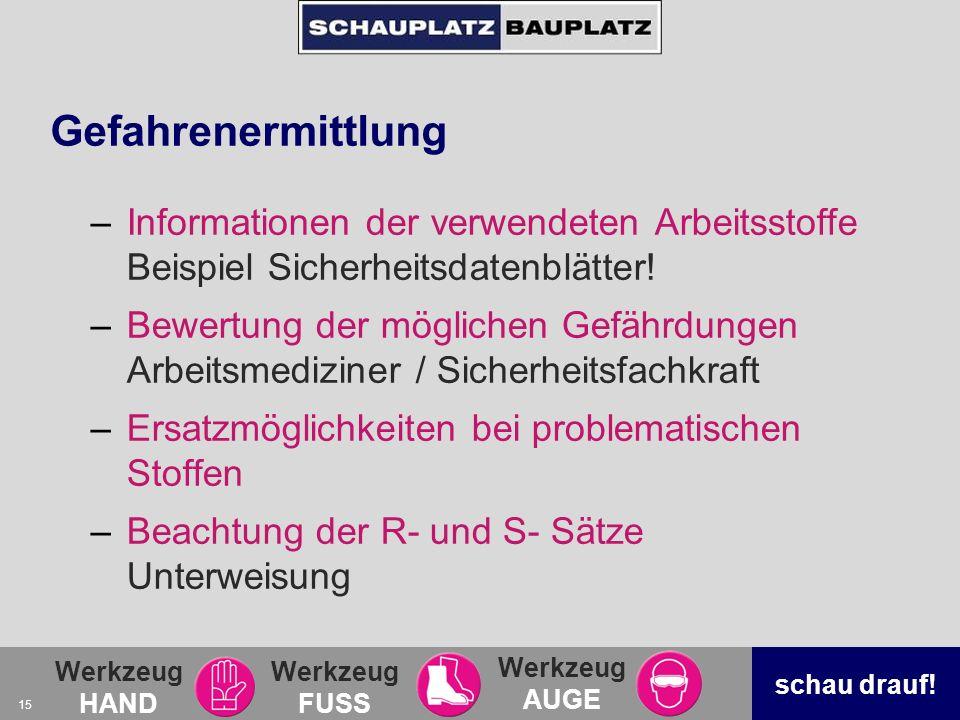 Gefahrenermittlung Informationen der verwendeten Arbeitsstoffe Beispiel Sicherheitsdatenblätter!