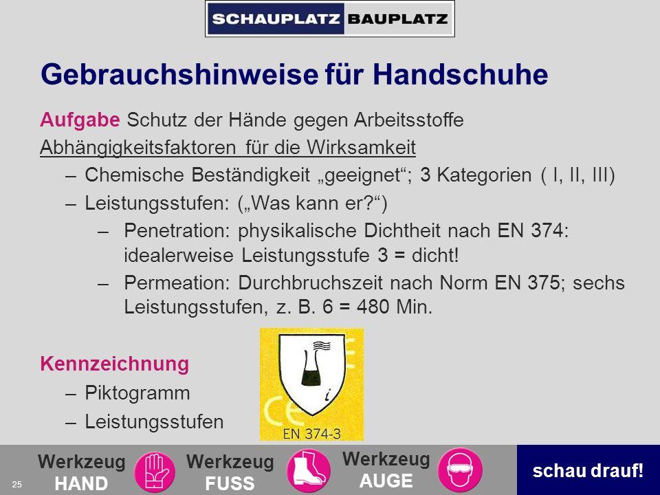 Gebrauchshinweise für Handschuhe