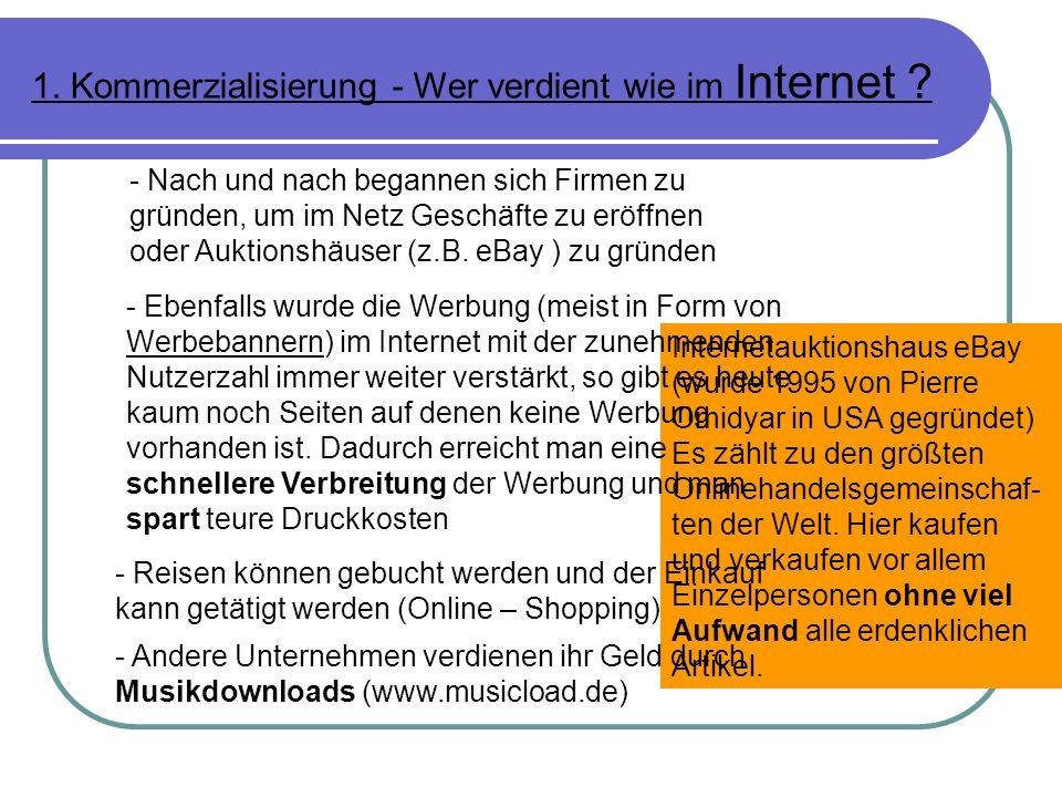 1. Kommerzialisierung - Wer verdient wie im Internet