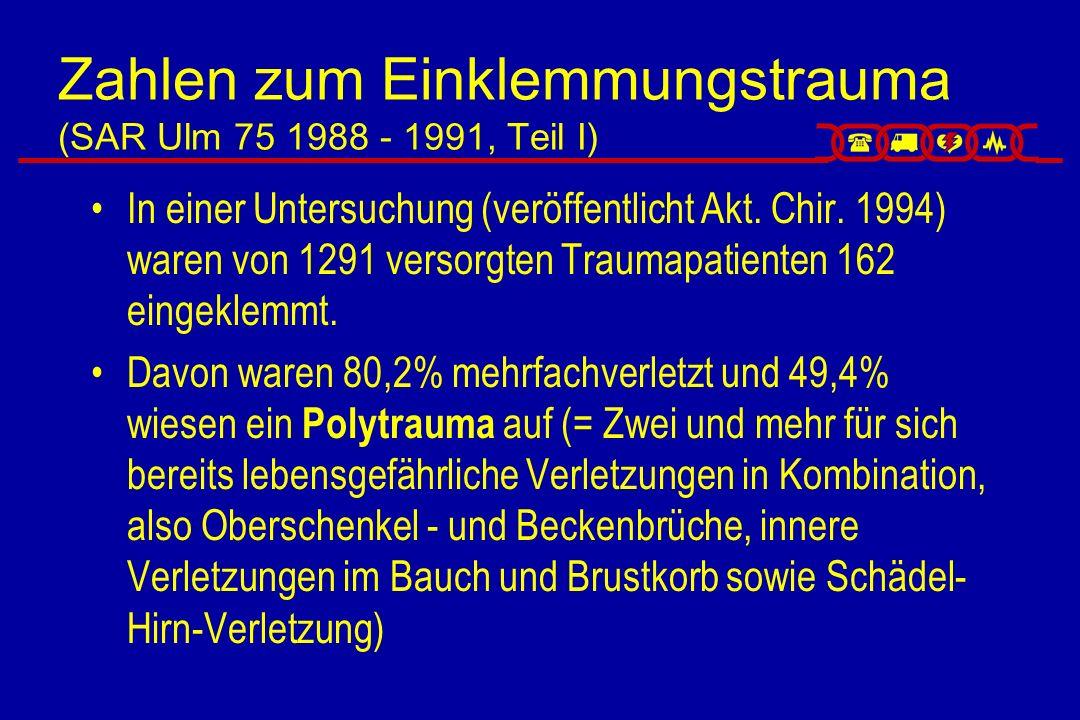 Zahlen zum Einklemmungstrauma (SAR Ulm 75 1988 - 1991, Teil I)