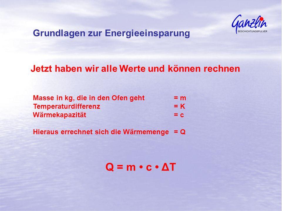 Q = m • c • ΔT Grundlagen zur Energieeinsparung