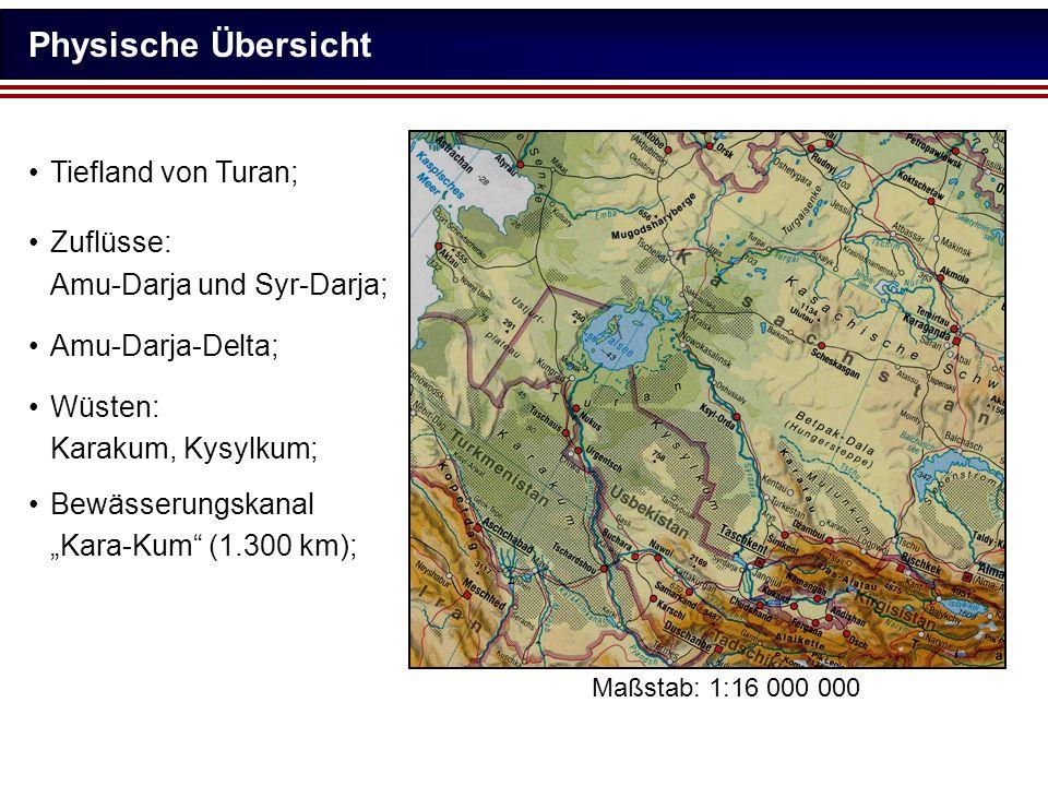 Physische Übersicht Tiefland von Turan; Zuflüsse: