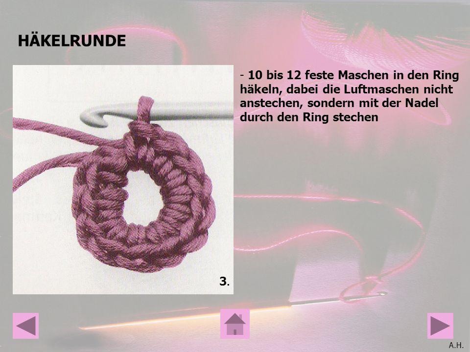 HÄKELRUNDE 10 bis 12 feste Maschen in den Ring häkeln, dabei die Luftmaschen nicht anstechen, sondern mit der Nadel durch den Ring stechen.