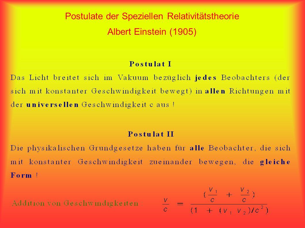 Postulate der Speziellen Relativitätstheorie Albert Einstein (1905)
