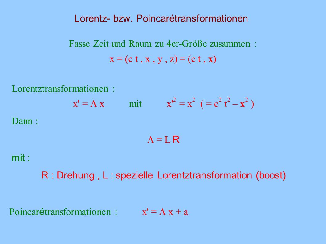 Lorentz- bzw. Poincarétransformationen
