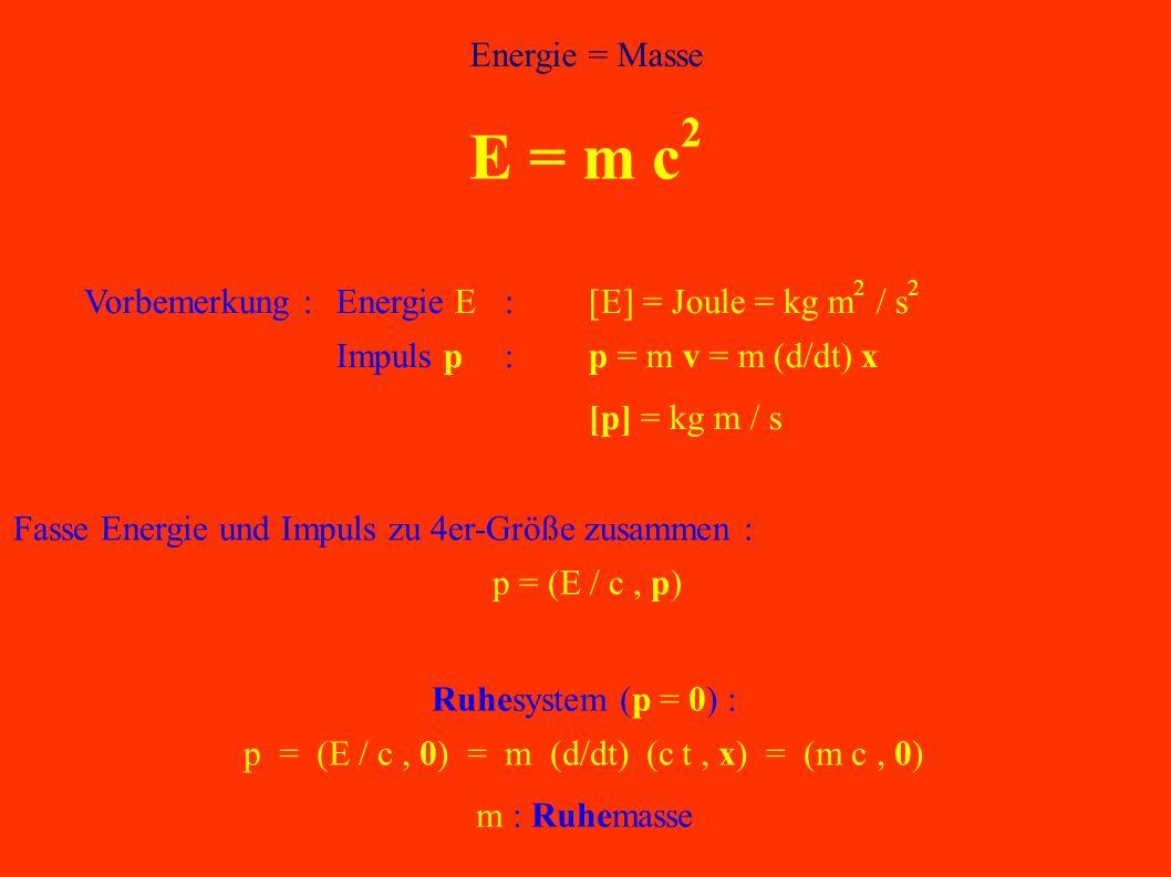 p = (E / c , 0) = m (d/dt) (c t , x) = (m c , 0)
