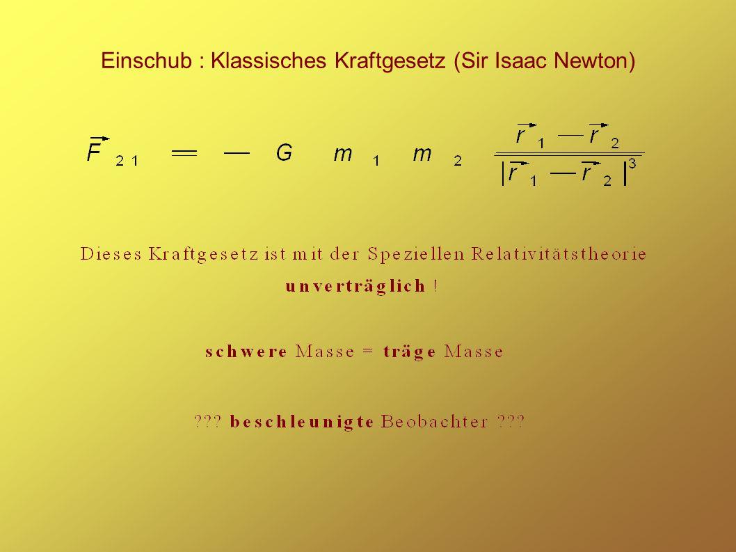 Einschub : Klassisches Kraftgesetz (Sir Isaac Newton)