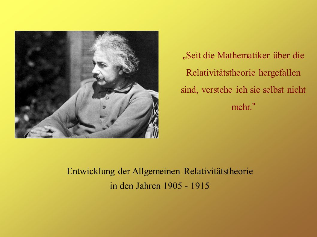 Entwicklung der Allgemeinen Relativitätstheorie