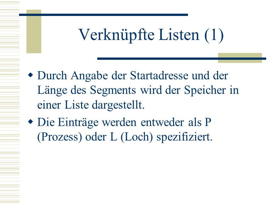 Verknüpfte Listen (1) Durch Angabe der Startadresse und der Länge des Segments wird der Speicher in einer Liste dargestellt.