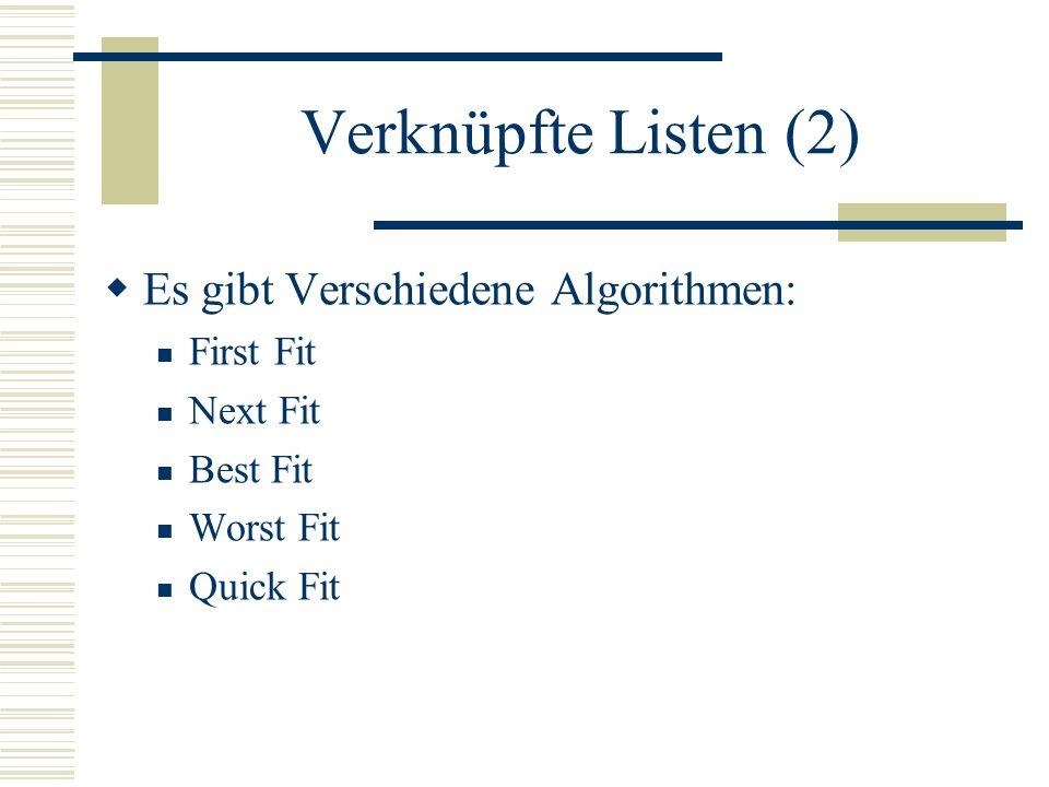 Verknüpfte Listen (2) Es gibt Verschiedene Algorithmen: First Fit