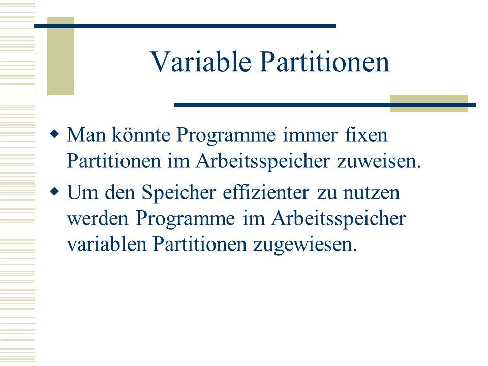 Variable Partitionen Man könnte Programme immer fixen Partitionen im Arbeitsspeicher zuweisen.