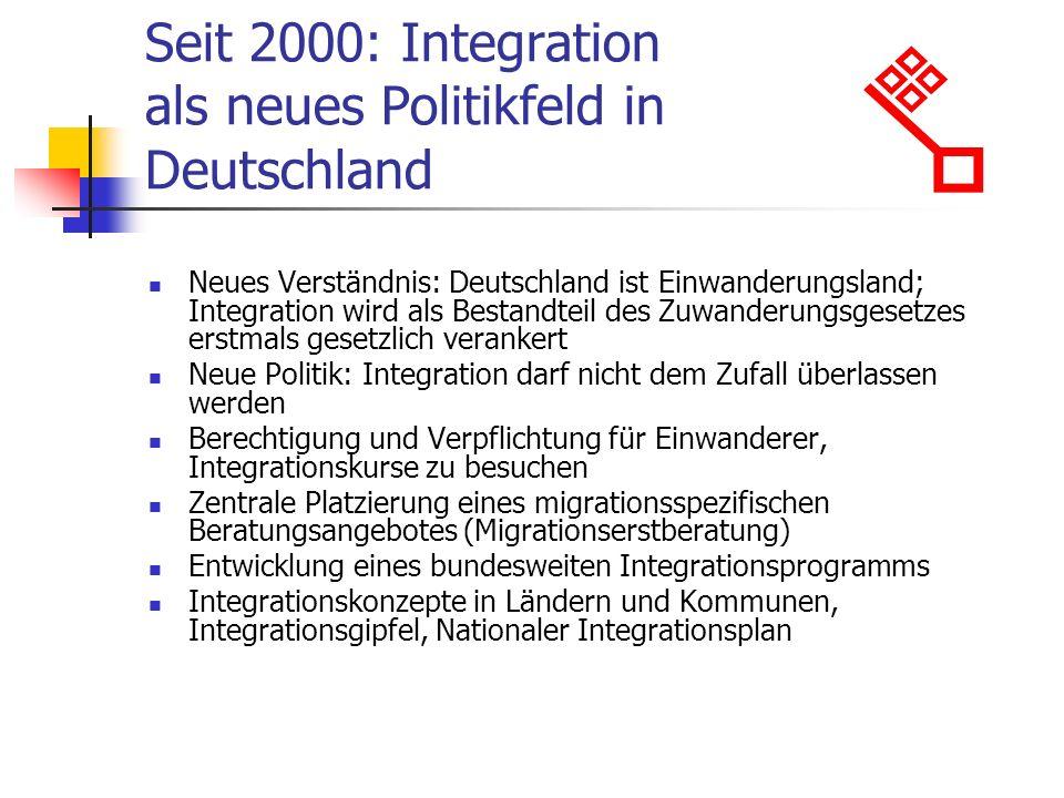 Seit 2000: Integration als neues Politikfeld in Deutschland