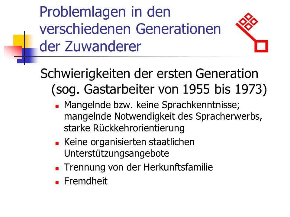 Problemlagen in den verschiedenen Generationen der Zuwanderer