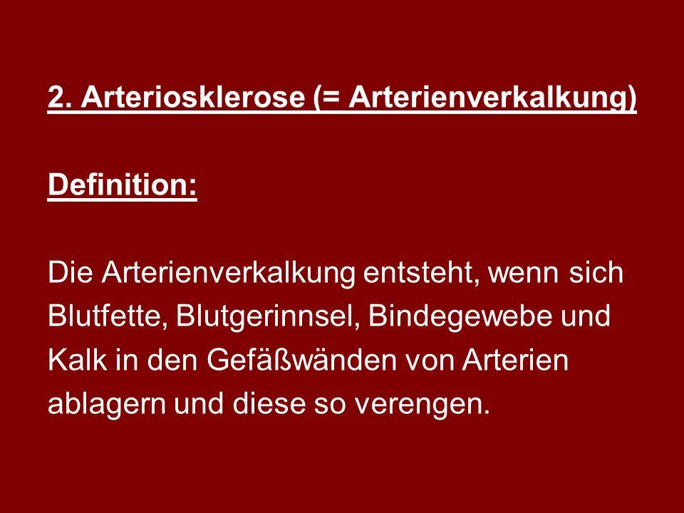 2. Arteriosklerose (= Arterienverkalkung)