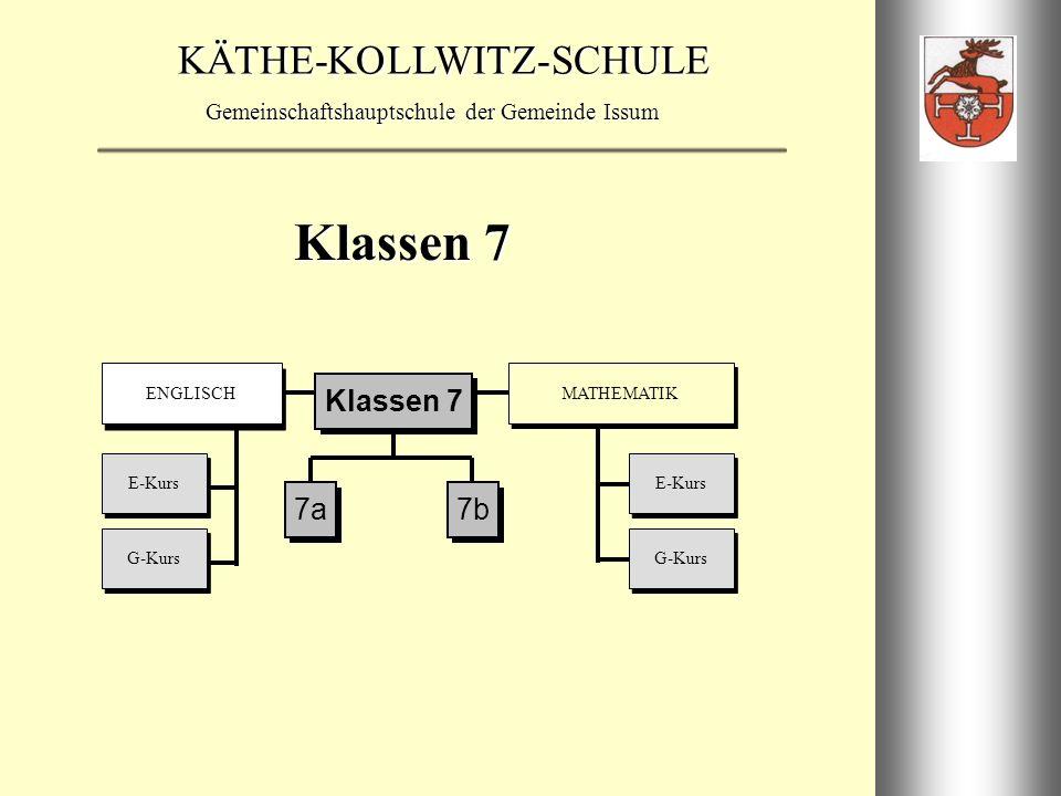 Klassen 7 E-Kurs G-Kurs ENGLISCH MATHEMATIK 7a 7b Klassen 7