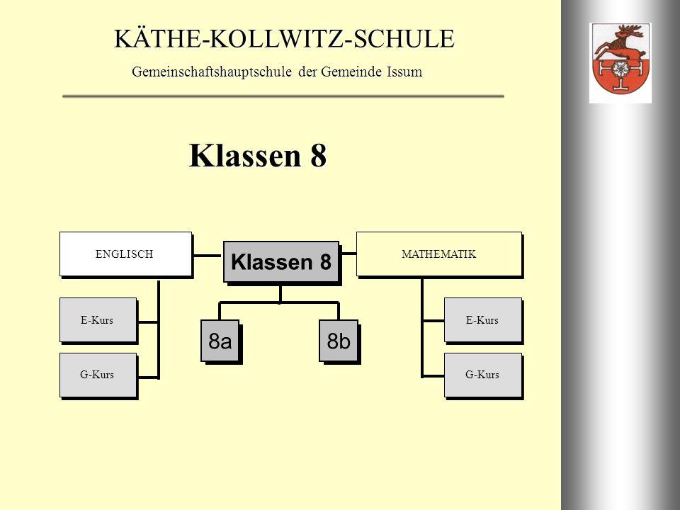 Klassen 8 E-Kurs G-Kurs ENGLISCH MATHEMATIK 8a 8b Klassen 8