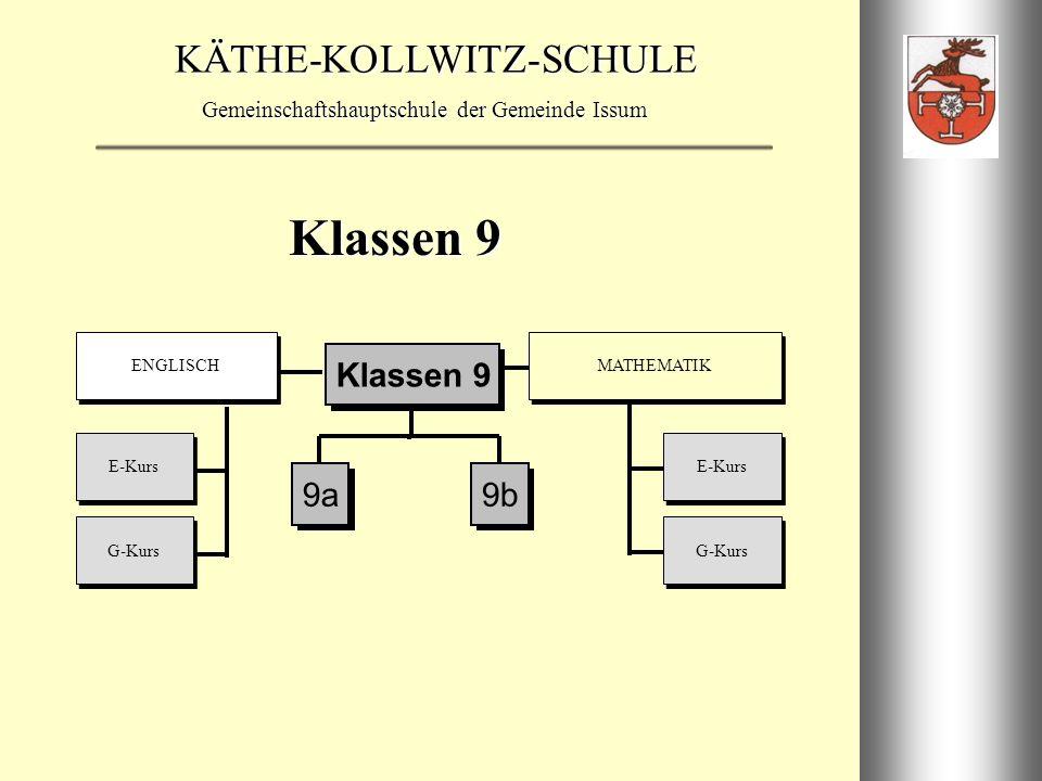 Klassen 9 E-Kurs G-Kurs ENGLISCH MATHEMATIK 9a 9b Klassen 9