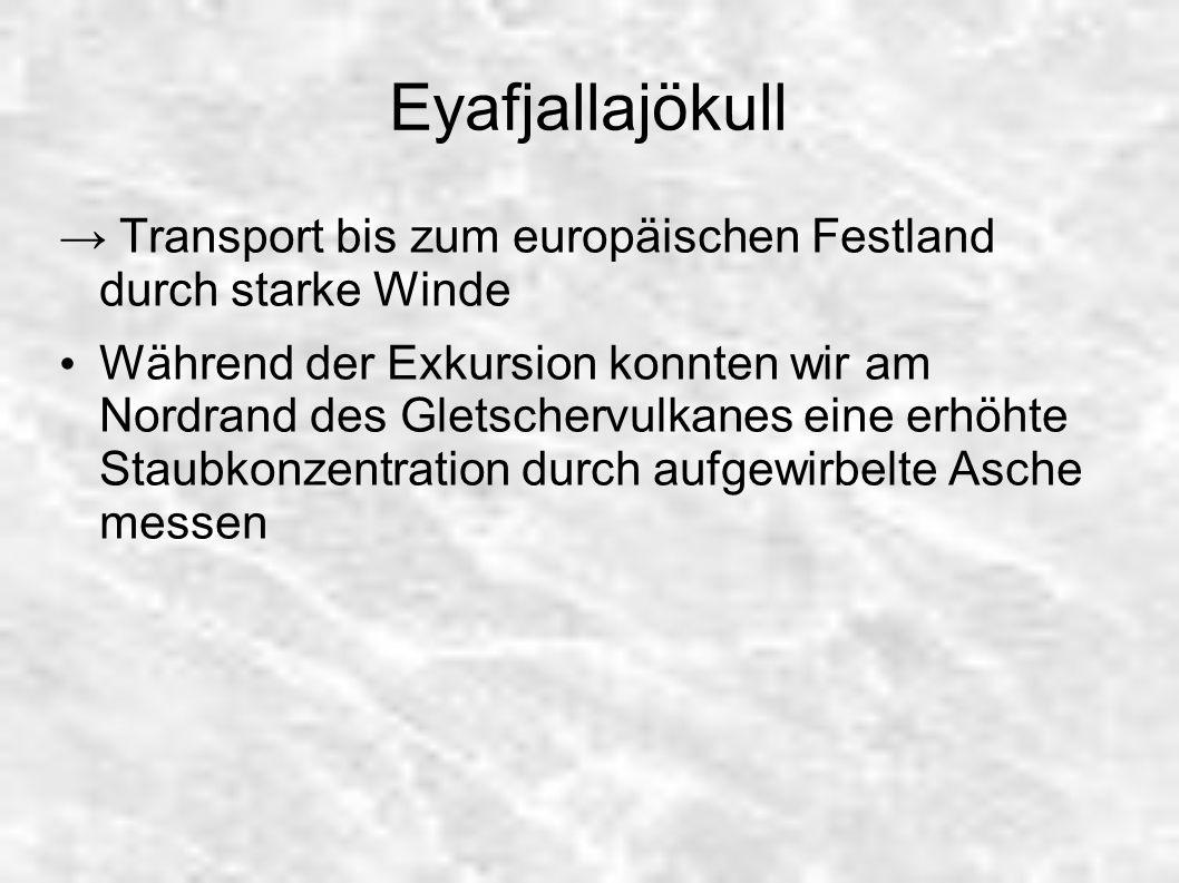 Eyafjallajökull → Transport bis zum europäischen Festland durch starke Winde.