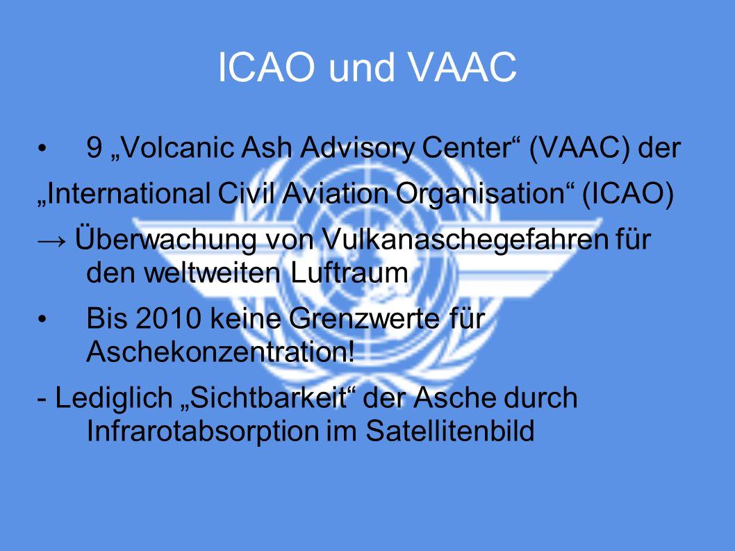 "ICAO und VAAC 9 ""Volcanic Ash Advisory Center (VAAC) der"