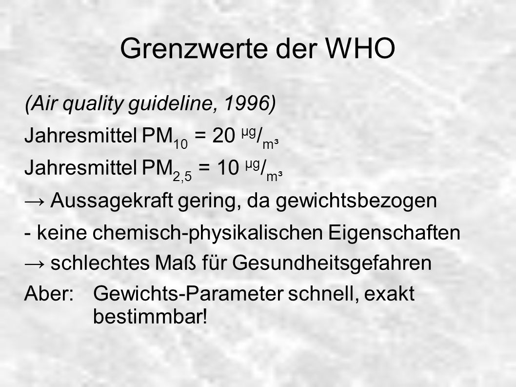 Grenzwerte der WHO (Air quality guideline, 1996)