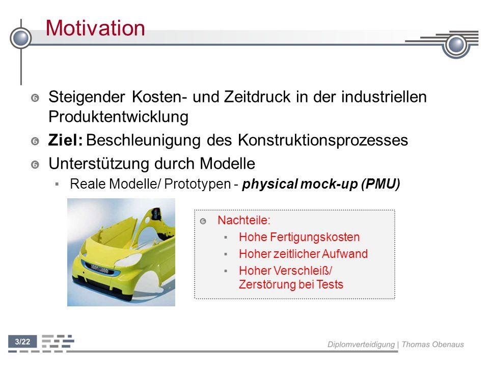 Motivation Steigender Kosten- und Zeitdruck in der industriellen Produktentwicklung. Ziel: Beschleunigung des Konstruktionsprozesses.