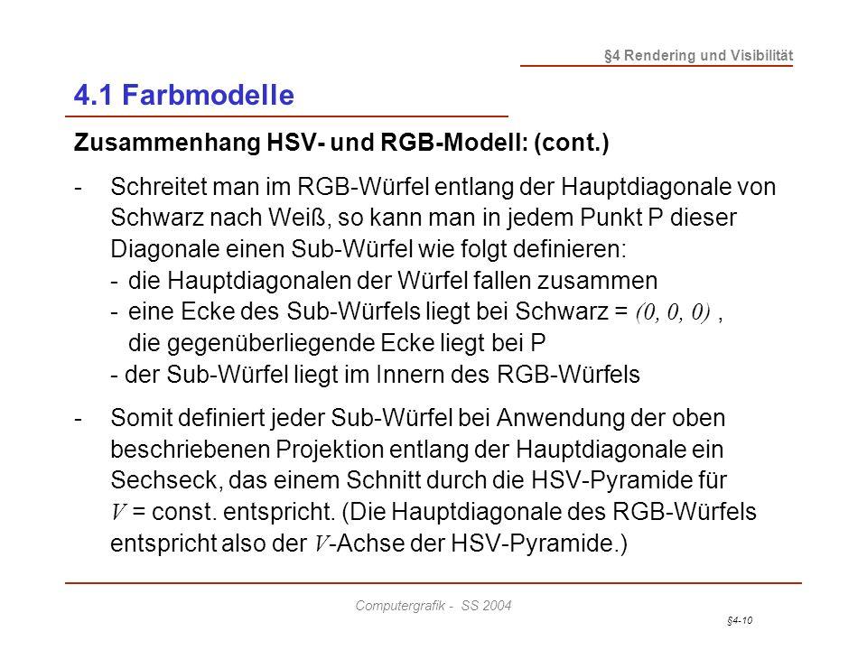 4.1 Farbmodelle Zusammenhang HSV- und RGB-Modell: (cont.)