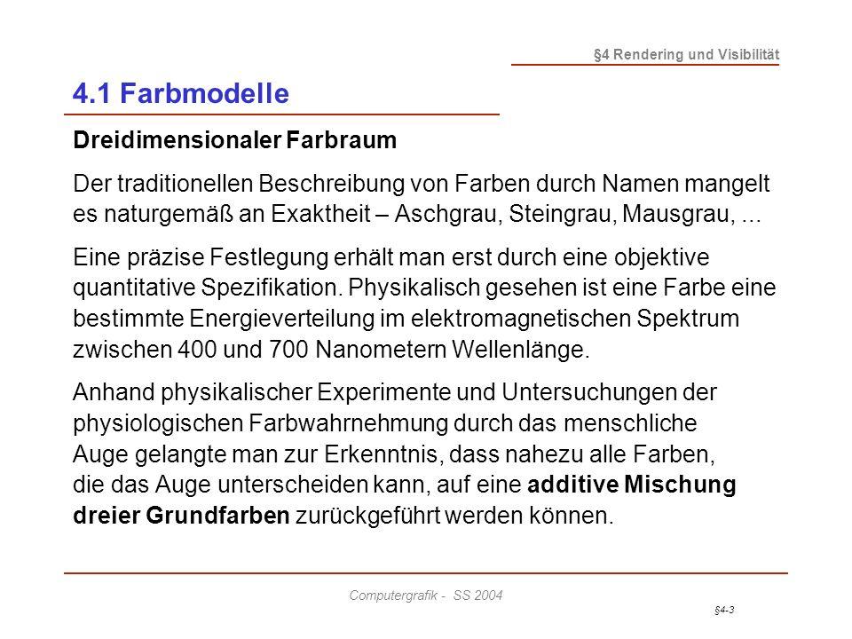 4.1 Farbmodelle Dreidimensionaler Farbraum