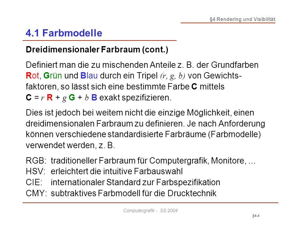 4.1 Farbmodelle Dreidimensionaler Farbraum (cont.)