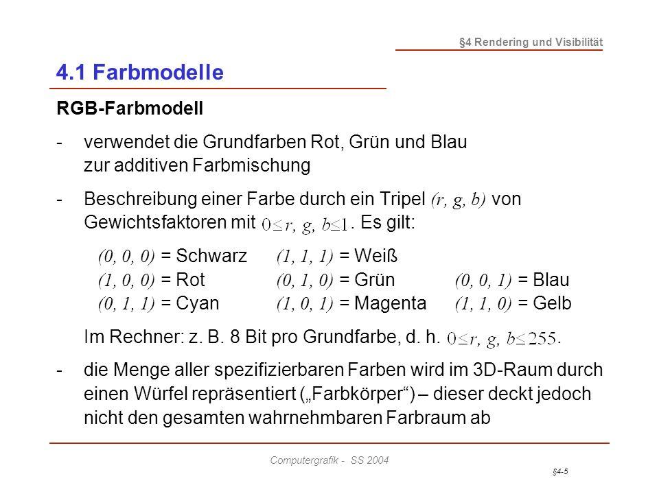 4.1 Farbmodelle RGB-Farbmodell