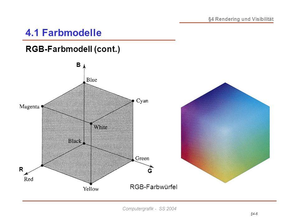 4.1 Farbmodelle RGB-Farbmodell (cont.) R B G RGB-Farbwürfel