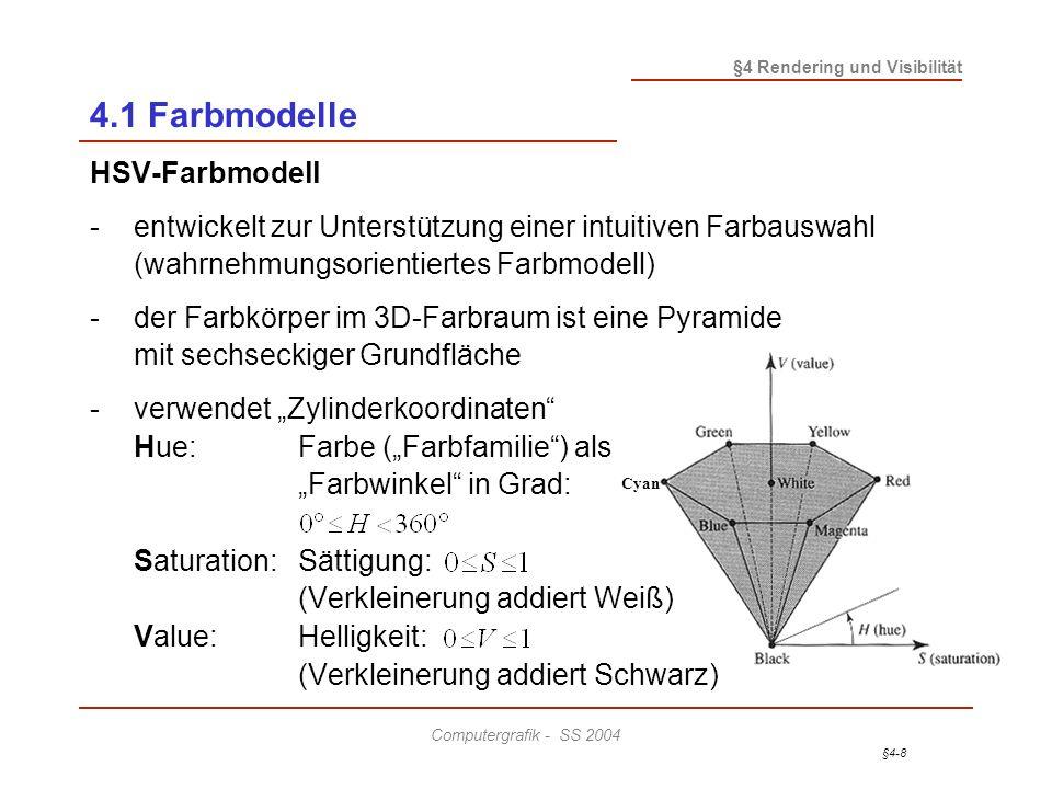 4.1 Farbmodelle HSV-Farbmodell
