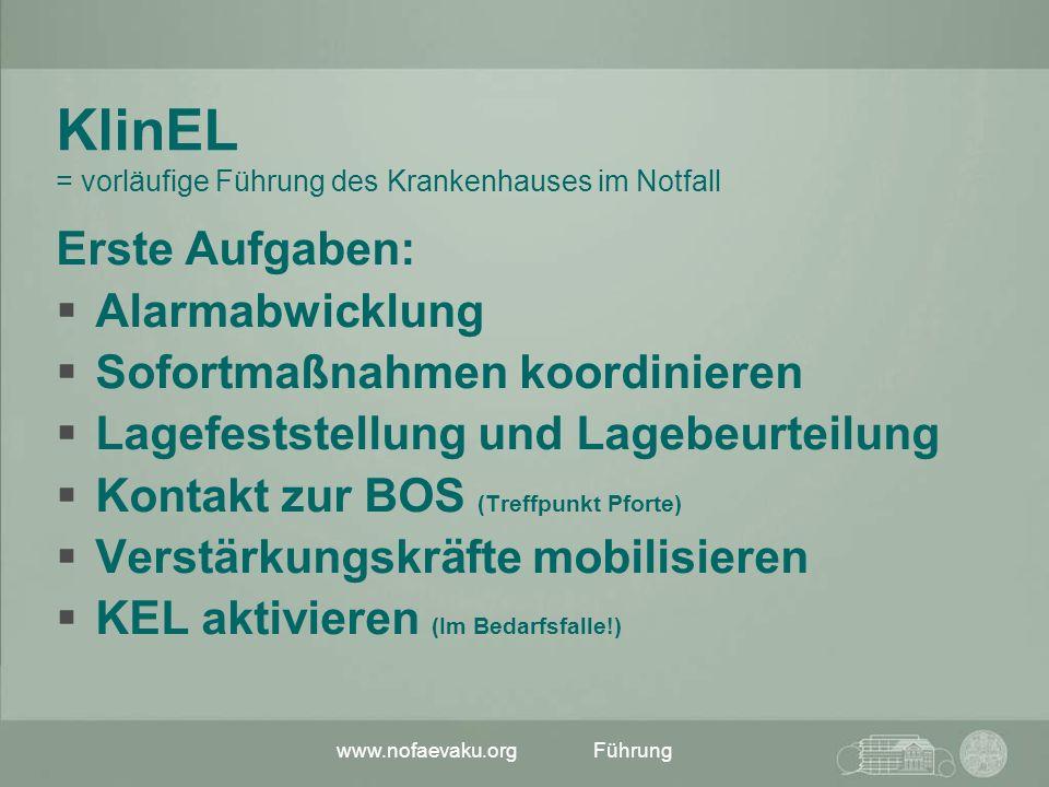 KlinEL = vorläufige Führung des Krankenhauses im Notfall