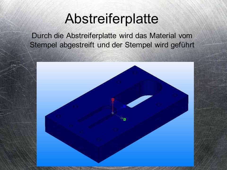 Abstreiferplatte Durch die Abstreiferplatte wird das Material vom Stempel abgestreift und der Stempel wird geführt.