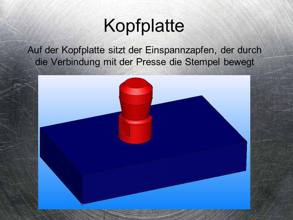Kopfplatte Auf der Kopfplatte sitzt der Einspannzapfen, der durch die Verbindung mit der Presse die Stempel bewegt.