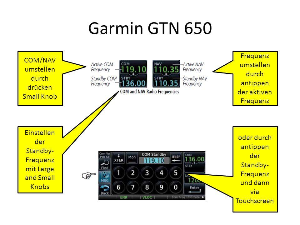 Garmin GTN 650 Frequenz umstellen durch antippen der aktiven Frequenz