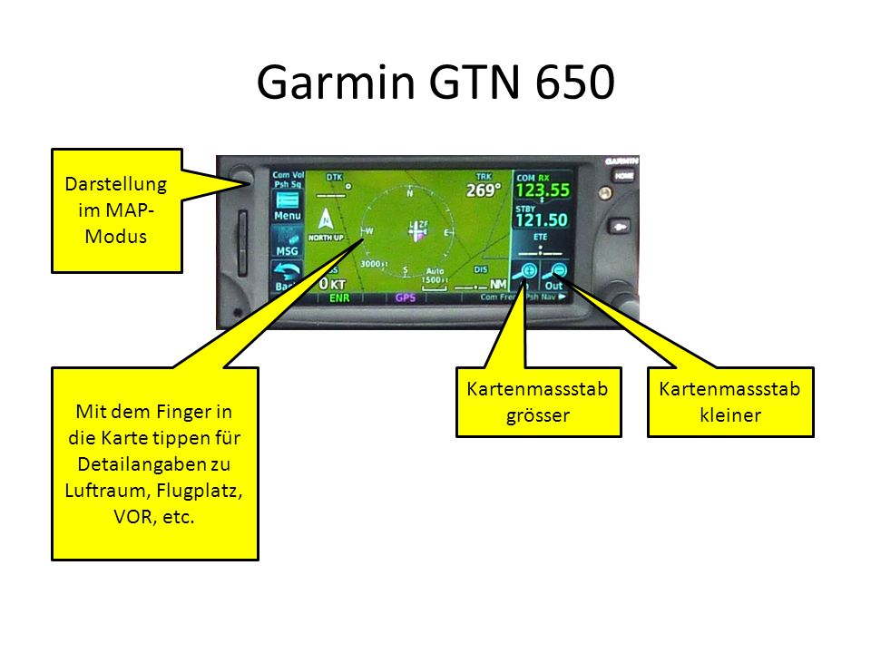 Garmin GTN 650 Darstellung im MAP-Modus