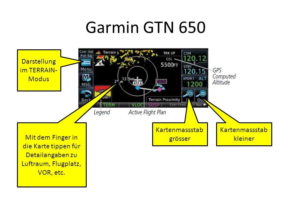 Garmin GTN 650 Darstellung im TERRAIN-Modus