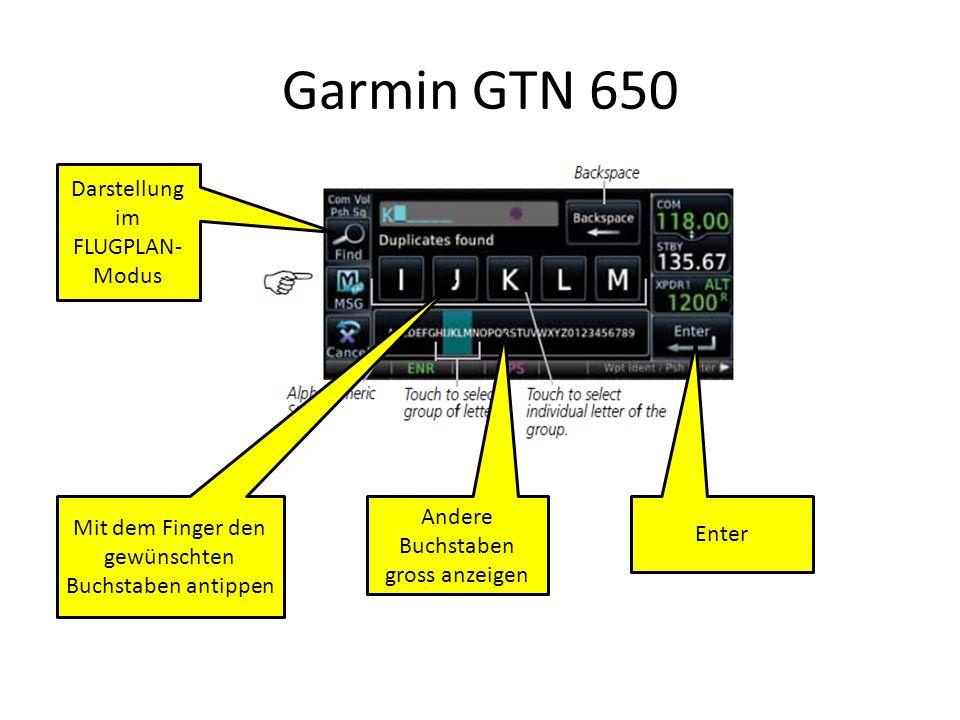 Garmin GTN 650 Darstellung im FLUGPLAN-Modus