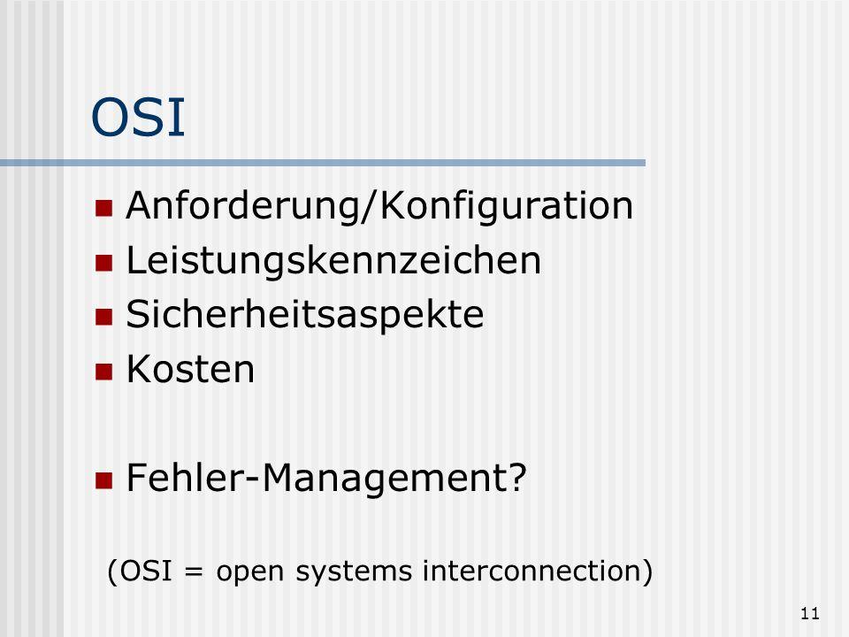 OSI Anforderung/Konfiguration Leistungskennzeichen Sicherheitsaspekte