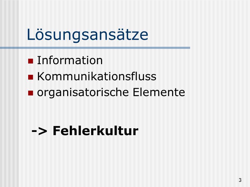 Lösungsansätze -> Fehlerkultur Information Kommunikationsfluss