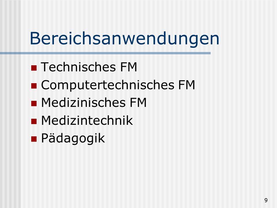 Bereichsanwendungen Technisches FM Computertechnisches FM