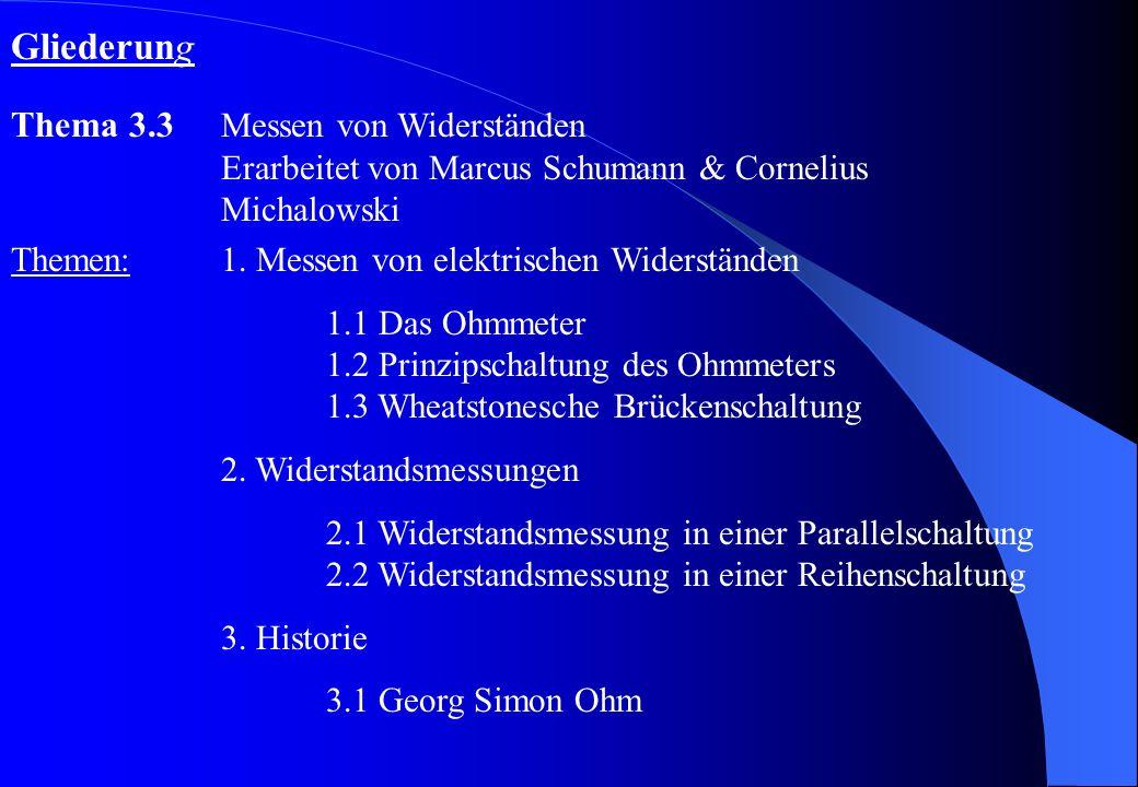 Gliederung Thema 3.3 Messen von Widerständen Erarbeitet von Marcus Schumann & Cornelius Michalowski.