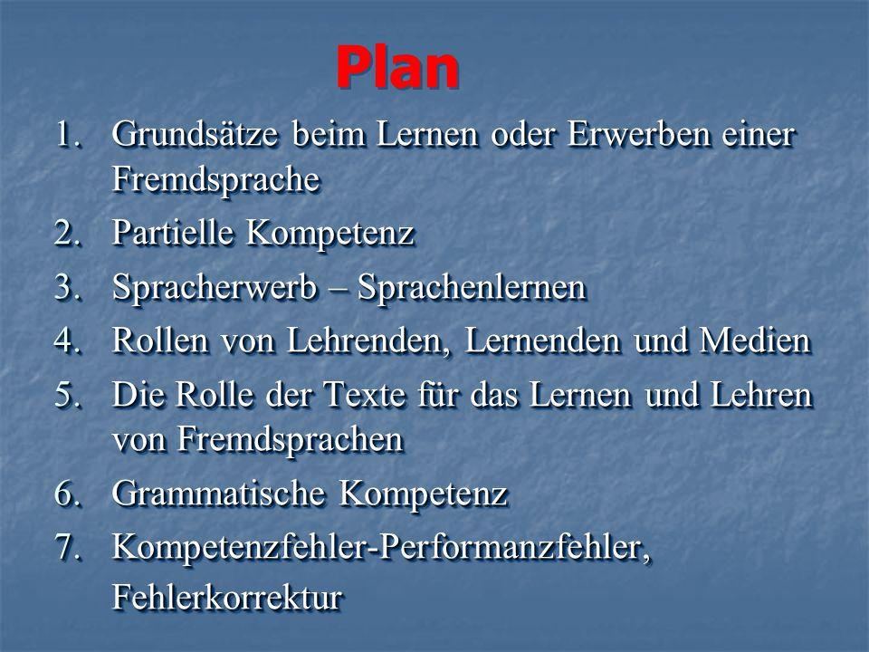 Plan Grundsätze beim Lernen oder Erwerben einer Fremdsprache