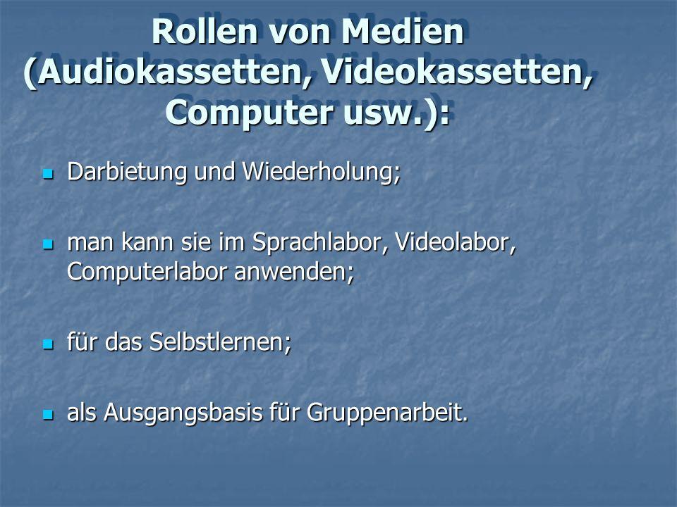 Rollen von Medien (Audiokassetten, Videokassetten, Computer usw.):