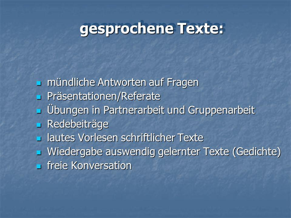 gesprochene Texte: mündliche Antworten auf Fragen