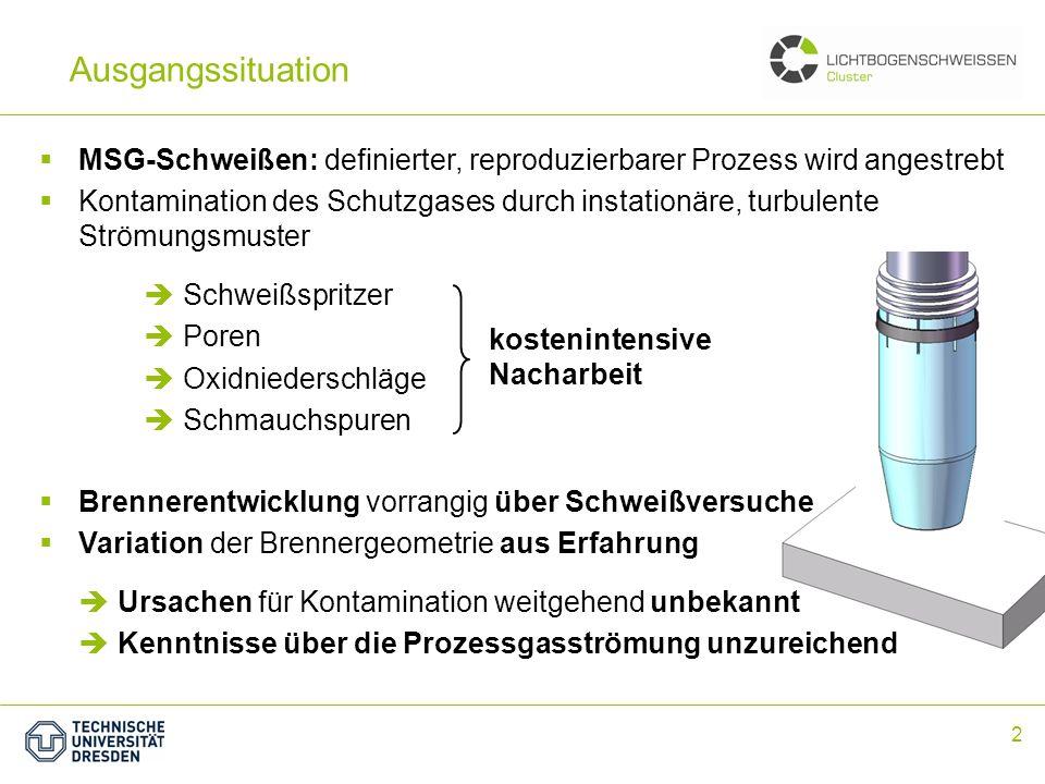 Ausgangssituation MSG-Schweißen: definierter, reproduzierbarer Prozess wird angestrebt.