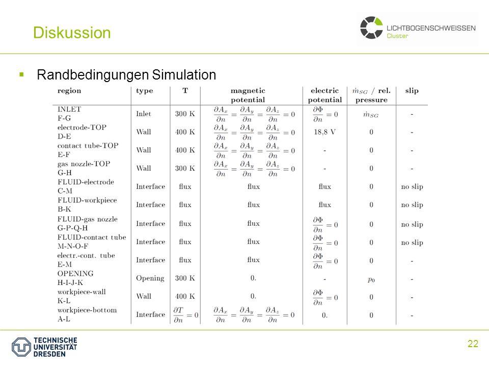 Zusammenfassung Diskussion Randbedingungen Simulation