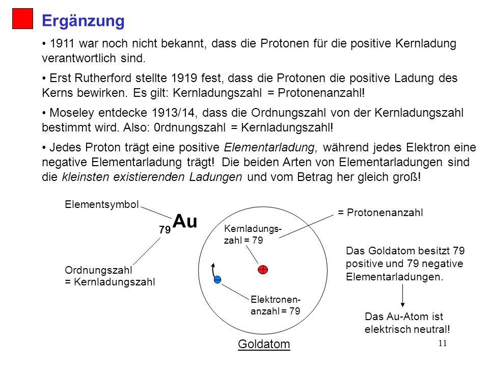 Ergänzung 1911 war noch nicht bekannt, dass die Protonen für die positive Kernladung verantwortlich sind.